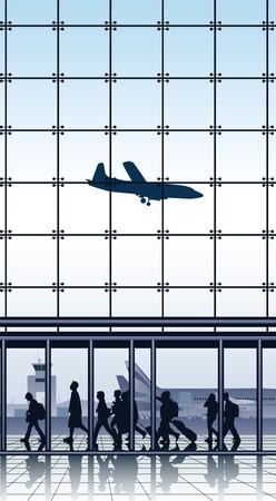 travelers inside airport terminal.