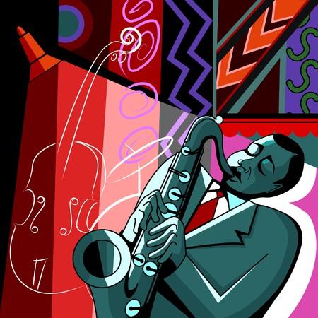 soprano saxophone: un saxofonista sobre un fondo multicolor  Foto de archivo