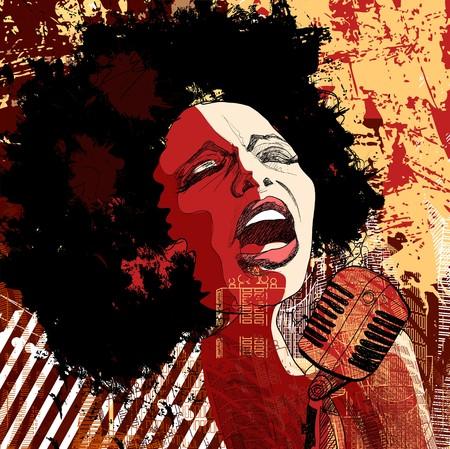 アフロアメリカン: グランジ背景にアフロ、アメリカ ジャズ歌手