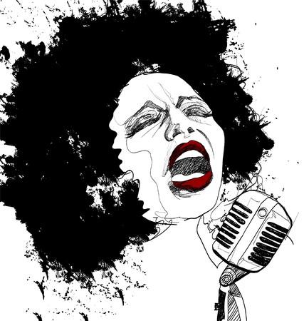 白い背景の上にアフロ アメリカ ジャズ歌手 写真素材