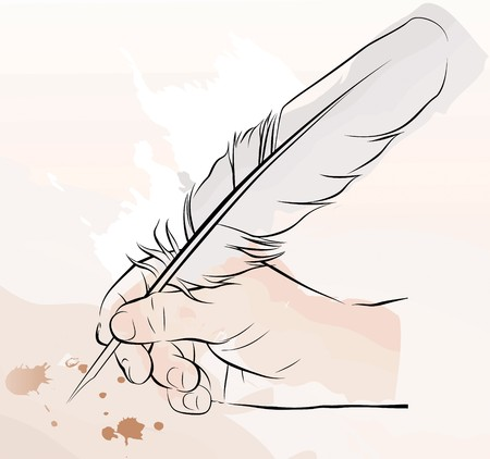 hand writing: a hand writing with a feather pen