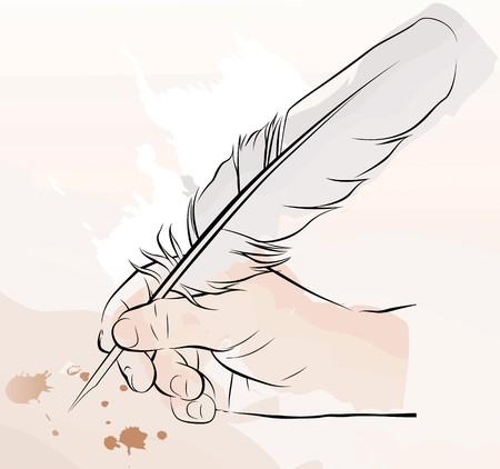 una mano scrivendo con una penna piuma