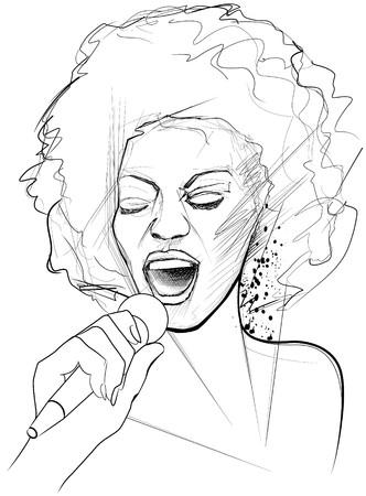 an afro american jazz singer on grunge background  photo