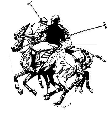 polo sport: polo players (hand drawing)  Stock Photo