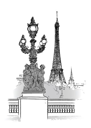 Alexander bridge in Paris (ink pen drawing) Stock Photo - 7483848