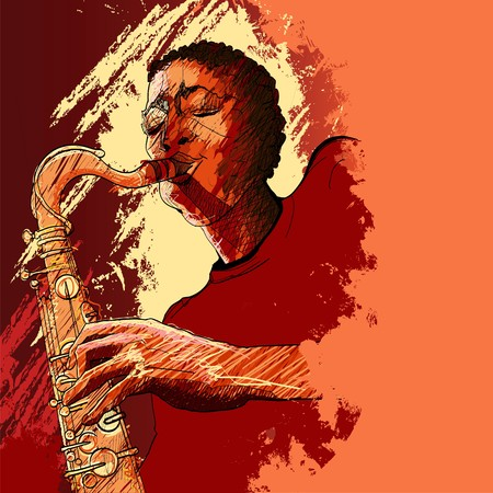 saxophonist: a saxophonist on a grunge background Stock Photo