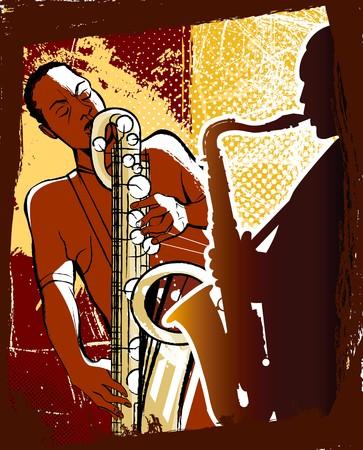 soprano saxophone: Ilustraci�n vectorial de saxofonistas sobre un fondo de grunge