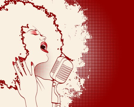 afro girl: an afro american jazz singer on grunge background  Stock Photo