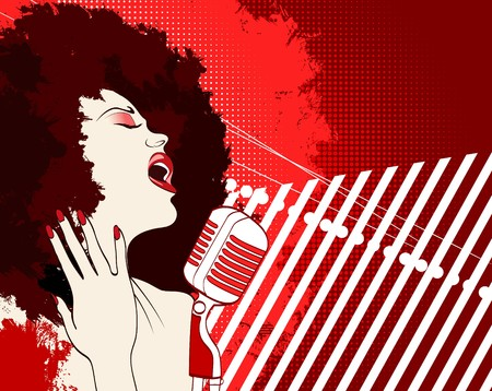 afro: an afro american jazz singer on grunge background  Stock Photo