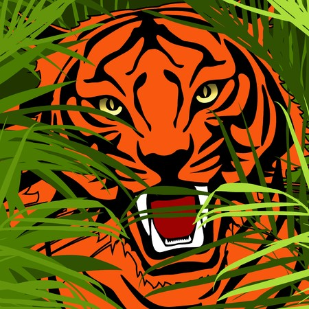 sumatra: a tiger hunting in jungle  Stock Photo