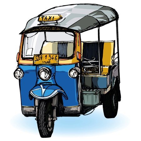 yellow cab: representation of Tuk-Tuk in Thailand (hand drawing) Stock Photo