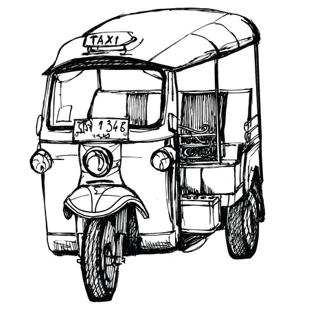 Tuk-Tuk in Thailand (hand drawing) Stock Photo - 7483967