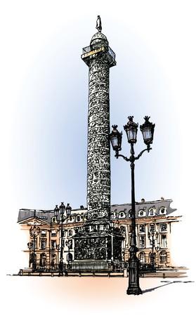Vendome column in Paris (hand drawing) photo