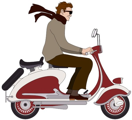 vespa piaggio: un ragazzo italiano su uno scooter