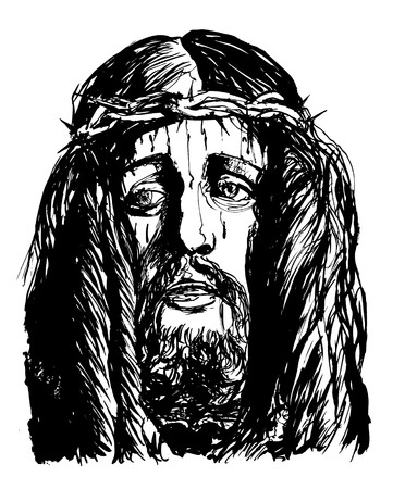 Vector illustration of a Christ 's face (ink drawing) Stock Illustration - 7483970