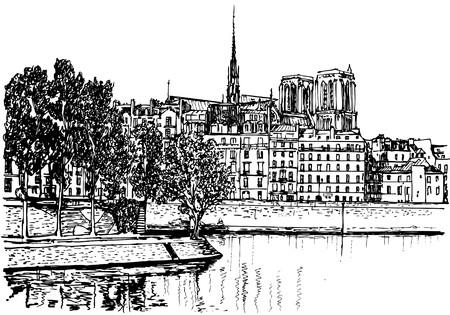 la: Ile De La Cite (Hand-Zeichnung)