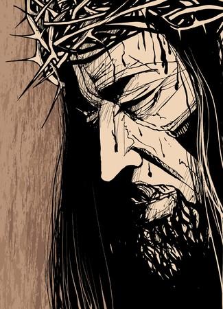 gesu: Illustrazione vettoriale del volto di Cristo, un (inchiostro disegno)