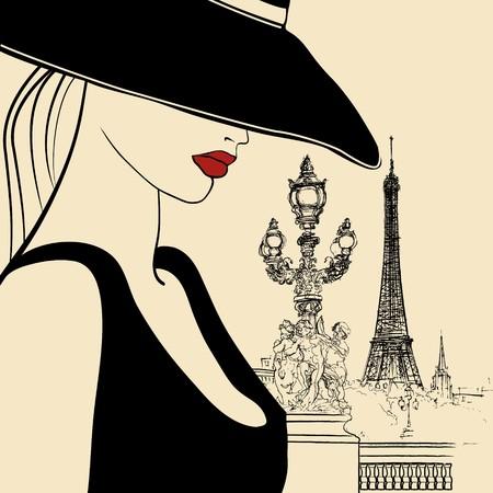 old fashion: woman on Alexander bridge in Paris (ink pen drawing)