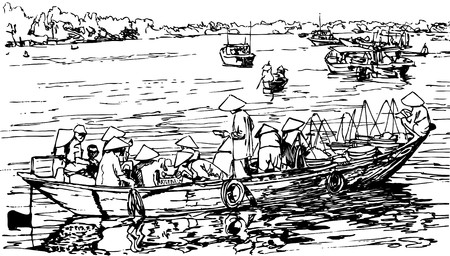 hand drawing of Hoi an harbour in Vietnam photo