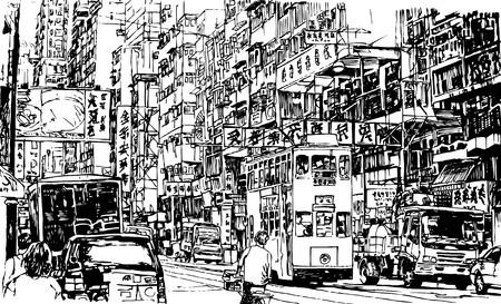 hong kong people: Hand drawing of a street in Hong Kong