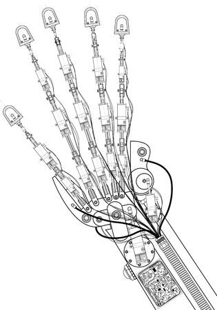 dibujo tecnico: dibujo t�cnico de mano robot  Foto de archivo