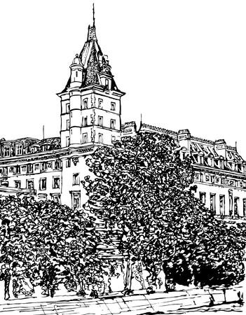 cite: Paris- Ile de la Cite - Palais de justice (hand drawing)