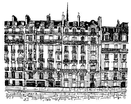 cite: Paris- Ile de la Cite - facades along the seine river (hand drawing)