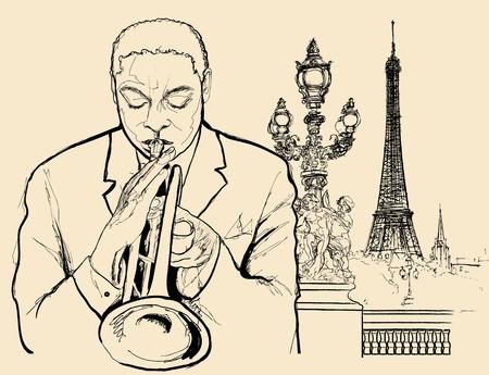 a jazz trumpeter on Alexander bridge in Paris (ink pen drawing) Stock Photo - 7483971