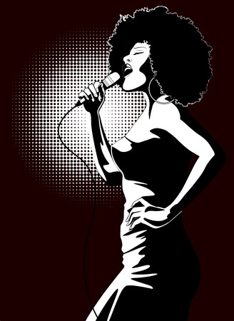 an afro american jazz singer on black background  photo