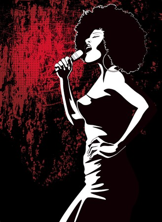an afro american jazz singer on grunge background  photo
