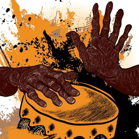 tambores: Ilustraci�n vectorial de un baterista africano