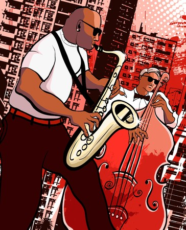 saxophonist: a saxophonist and  bassist on grunge city background