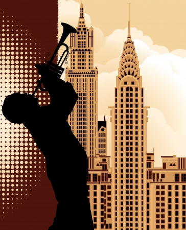 blues: a trumpet player over New York cityscape background