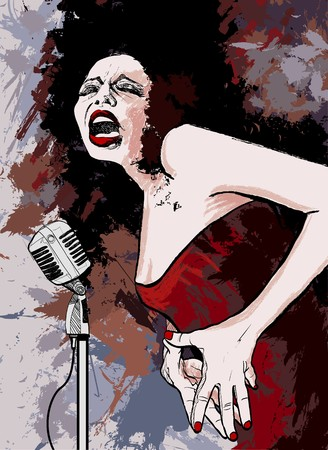 Vector illustration of an afro american jazz singer on grunge background  illustration