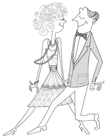 perform: illustration of ballroom dancing couple  Illustration