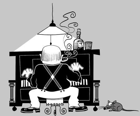 pianista: jugador de piano en el estilo de dibujo animado