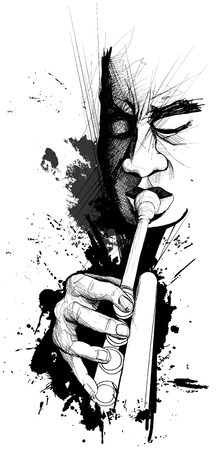 blues: illustration of a trumpet player Illustration