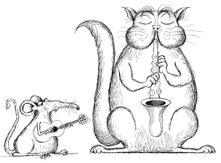 illustration of a cat and rat playing music in cartoon style Vector