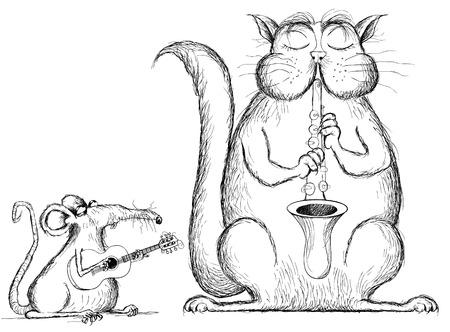 rata: Ilustraci�n de un gato y la rata tocar m�sica en estilo de dibujos animados