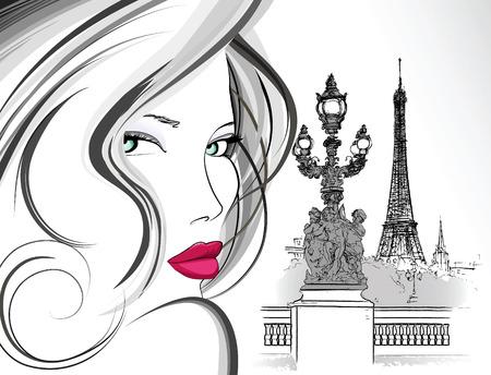 paris illustration: illustration of woman on Alexander bridge in Paris (ink pen drawing)