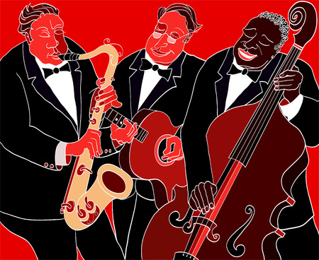 jazz: illustration of a Jazz band over red background
