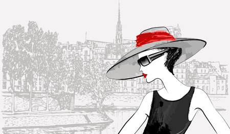 ile de la cite:  illustration of a woman over Ile de la cite and Ile saint Louis in Paris background (ink pen drawing)