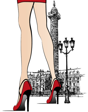 representation of a woman nearby Vendome column in Paris (hand drawing)