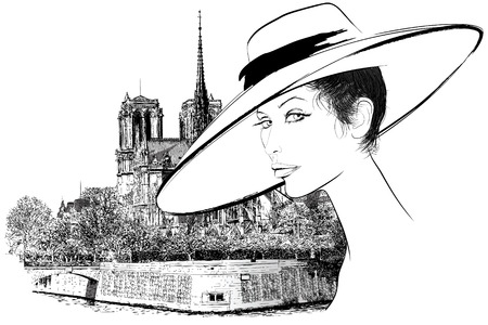 notre dame de paris:  representation of a woman nearby Notre Dame in Paris (hand drawing) Illustration
