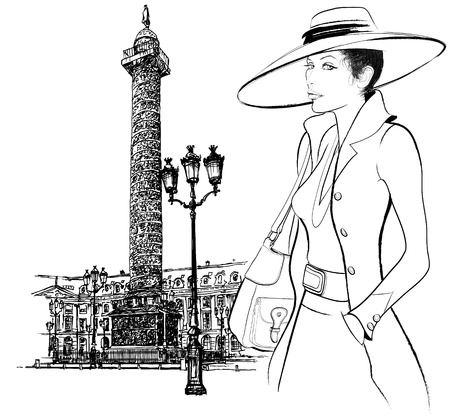 napoleon: representation of a woman nearby Vendome column in Paris (hand drawing) Illustration
