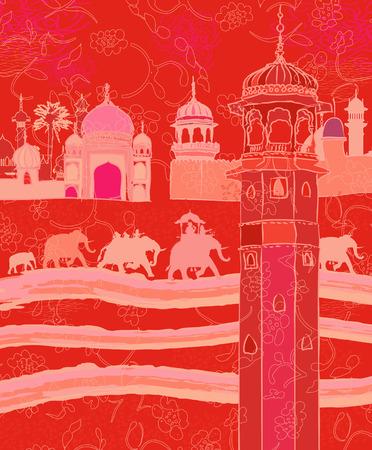 象と一緒にインドの装飾のイラスト