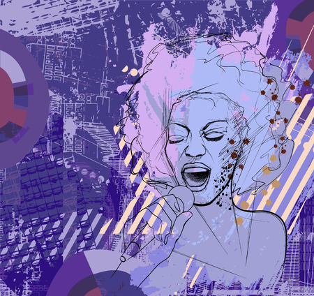 afro girl: illustration of an afro american jazz singer on grunge background