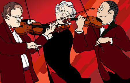 violinist: illustration of violin players