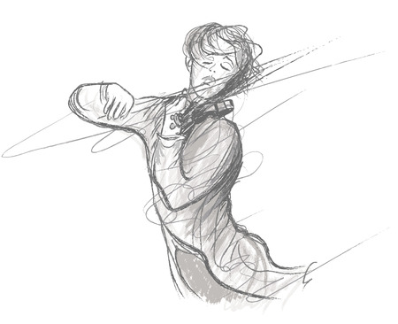 violinist: illustration of violin player Illustration