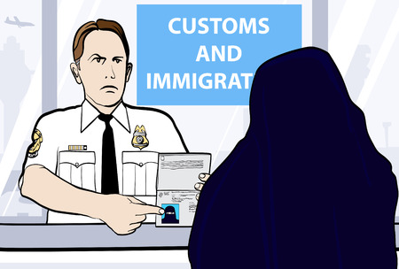 headgear: Conceptual illustration of a passport control of woman wearing niqab